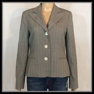 LAUREN by Ralph Lauren Gray Striped Blazer